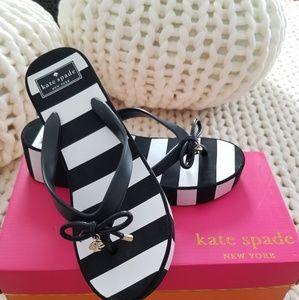 Kate Spade black & white stripe platfrom flip flop